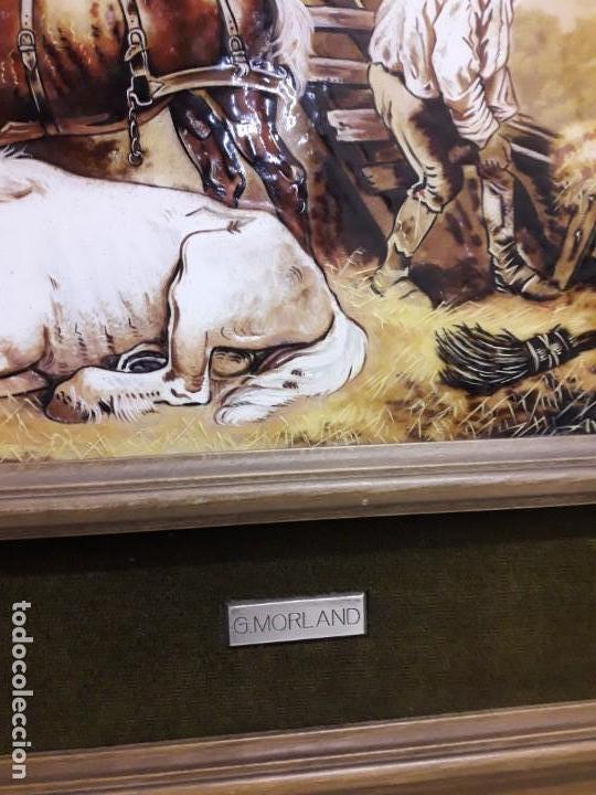 Varios objetos de Arte: Espectacular gran bello cuadro pintura sobre azulejos Caballos en un establo George Morland 75x65cm - Foto 14 - 148032942