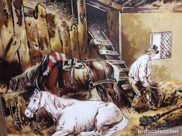 Varios objetos de Arte: Espectacular gran bello cuadro pintura sobre azulejos Caballos en un establo George Morland 75x65cm - Foto 15 - 148032942