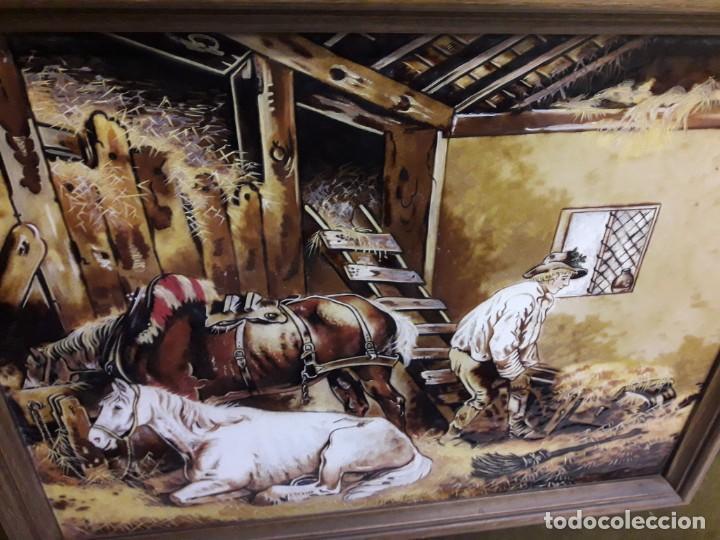 Varios objetos de Arte: Espectacular gran bello cuadro pintura sobre azulejos Caballos en un establo George Morland 75x65cm - Foto 16 - 148032942