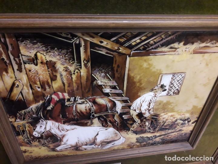 Varios objetos de Arte: Espectacular gran bello cuadro pintura sobre azulejos Caballos en un establo George Morland 75x65cm - Foto 17 - 148032942
