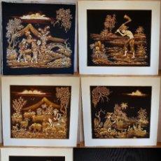 Varios objetos de Arte: LOTE DE 5 CUADROS ESTAMPADOS EN TELA, EXTREMO ORIENTE (CHINA). AÑOS 70-80.. Lote 148071010