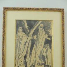 Varios objetos de Arte: PRECIOSA OBRA DE ARTE-PLAZA DE ORIENTE -DANIEL VAZQUEZ DIAZ-AGUADA Y TINTA SOBRE PAPEL. Lote 148197070