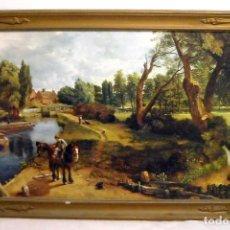 Varios objetos de Arte: CUADRO ANTIGUO CON PINTURA DE PAISAJE. Lote 148248318