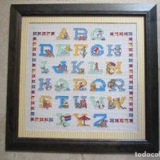 Varios objetos de Arte: CUADRO DE PUNTO DE CRUZ - ENMARCADO - ABECEDARIO - 50X50. Lote 148962582