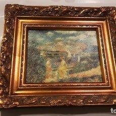 Varios objetos de Arte: CUADRO SOBRE LIENZO - LA ORILLA DEL SENA EN ARGENTEUIL - RENOIR CON PRECIOSO MARCO CLASICO. Lote 149363894