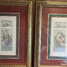 Varios objetos de Arte: PAREJA DE CUADROS DECORATIVOS / INSCRIPCIÓN MUSIK / VALEREI / 38.5 X 55 CM / ENMARCADOS EN CRISTAL.. Lote 149467090