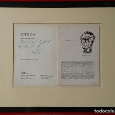 Varios objetos de Arte: OTTO DIX: EXPO. ST. GALLEN ERKER / FIRMADO A MANO, SELLO HÚMEDO, 1958. Lote 149672994