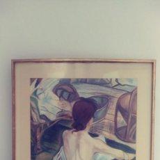 Varios objetos de Arte: CUADRO FIGURA DE MUJER DE ESPALDAS TÉCNICA MIXTA. Lote 151337822