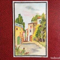 Varios objetos de Arte: PEQUEÑA LAMINA PINTADA A MANO, PAISAJE URBANO. Lote 151687774