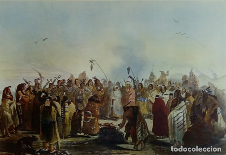 LÁMINA DANSE DU SCALP DES INDIENS MEUNITARRIS BODMER SXIX (Arte - Varios Objetos de Arte)