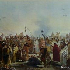 Varios objetos de Arte: LÁMINA DANSE DU SCALP DES INDIENS MEUNITARRIS BODMER SXIX. Lote 151890870