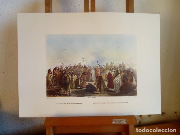 Varios objetos de Arte: Lámina Danse du scalp des indiens Meunitarris BODMER SXIX - Foto 4 - 151890870