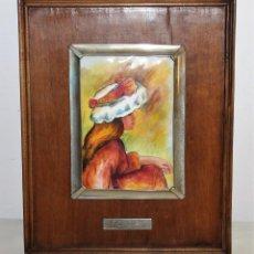 Varios objetos de Arte: ESMALTE AL FUEGO REPRODUCCIÓN DE RENOIR ENMARCADO EN PLATA Y MADERA - H.1950. Lote 151993090