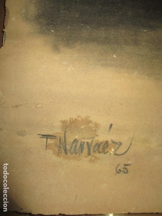 Varios objetos de Arte: autorretrato SALVADOR TORRES NARVAEZ PINTOR DE MALAGA1965 reverso esposa y dibujo de estudio - Foto 6 - 74861747