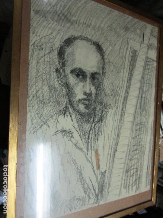 Varios objetos de Arte: autorretrato SALVADOR TORRES NARVAEZ PINTOR DE MALAGA1965 reverso esposa y dibujo de estudio - Foto 2 - 74861747
