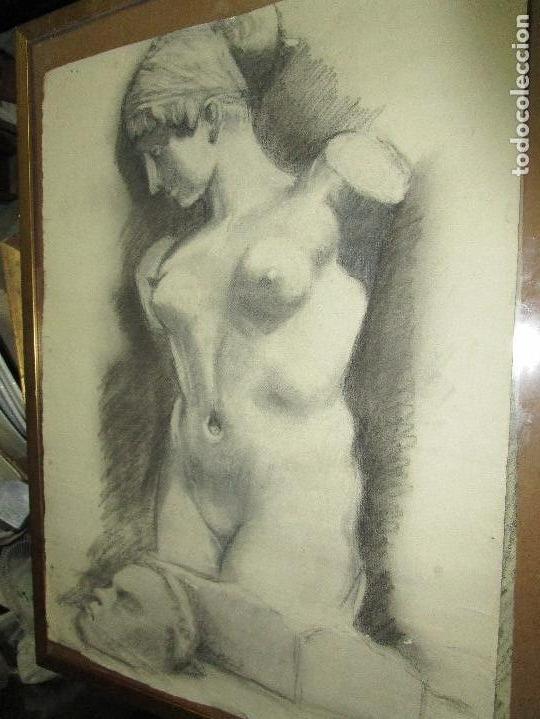 Varios objetos de Arte: autorretrato SALVADOR TORRES NARVAEZ PINTOR DE MALAGA1965 reverso esposa y dibujo de estudio - Foto 25 - 74861747