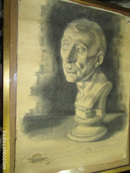 Varios objetos de Arte: autorretrato SALVADOR TORRES NARVAEZ PINTOR DE MALAGA1965 reverso esposa y dibujo de estudio - Foto 3 - 74861747