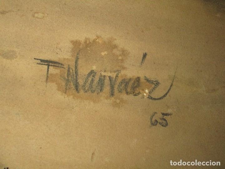 Varios objetos de Arte: autorretrato SALVADOR TORRES NARVAEZ PINTOR DE MALAGA1965 reverso esposa y dibujo de estudio - Foto 5 - 74861747