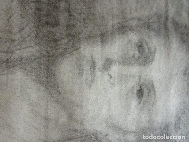 Varios objetos de Arte: autorretrato SALVADOR TORRES NARVAEZ PINTOR DE MALAGA1965 reverso esposa y dibujo de estudio - Foto 22 - 74861747
