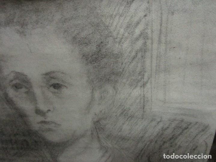 Varios objetos de Arte: autorretrato SALVADOR TORRES NARVAEZ PINTOR DE MALAGA1965 reverso esposa y dibujo de estudio - Foto 24 - 74861747