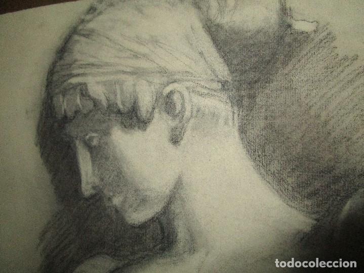 Varios objetos de Arte: autorretrato SALVADOR TORRES NARVAEZ PINTOR DE MALAGA1965 reverso esposa y dibujo de estudio - Foto 26 - 74861747