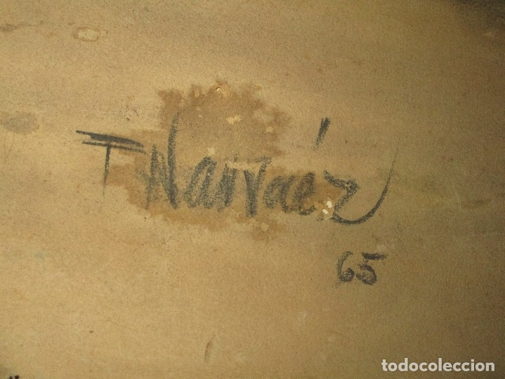 Varios objetos de Arte: autorretrato SALVADOR TORRES NARVAEZ PINTOR DE MALAGA1965 reverso esposa y dibujo de estudio - Foto 29 - 74861747