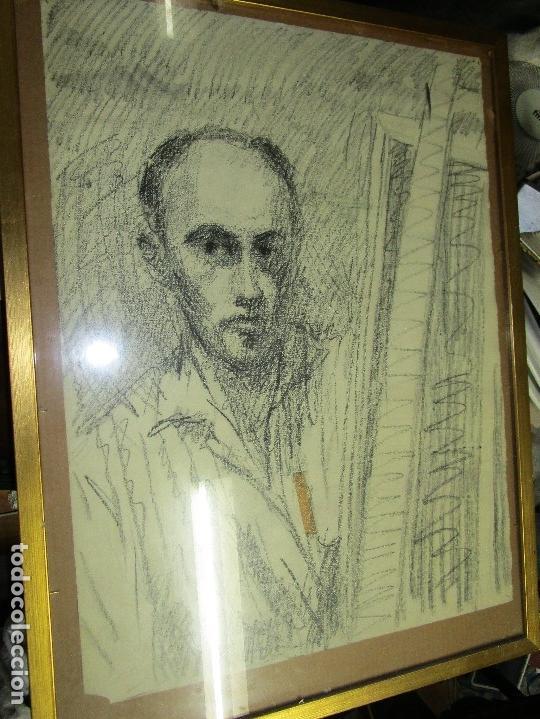 AUTORRETRATO SALVADOR TORRES NARVAEZ PINTOR DE MALAGA1965 REVERSO ESPOSA Y DIBUJO DE ESTUDIO (Arte - Varios Objetos de Arte)