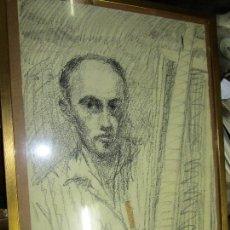 Varios objetos de Arte: AUTORRETRATO SALVADOR TORRES NARVAEZ PINTOR DE MALAGA1965 REVERSO ESPOSA Y DIBUJO DE ESTUDIO. Lote 74861747