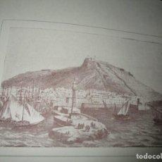 Varios objetos de Arte: GRABADO PUERTO CIUDAD ALICANTE VISTA SIGLO XIX FELICITACION DELEGACION PROVINCIAL FALANGE 1945. Lote 152245078