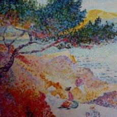 Varios objetos de Arte: LÁMINA H. E. CROSS LA PLAYA DE SANTA CLARA MUSÉE DE L'ANNONCIADE ST TROPEZ *LA PLAGE DE SAINT-CLAIRE. Lote 152776542