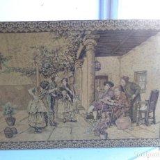Varios objetos de Arte: MUY ANTIGUO, FINALES 1800, RARO Y BONITO TAPIZ ARTESANAL, COMPLETO Y EN BUEN ESTADO. Lote 152885598