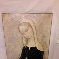 Varios objetos de Arte: BELLO CUADRO DE JANDRO MUJER CON PALOMA PINTURA CRAQUELADA SOBRE MADERA. Lote 153265102