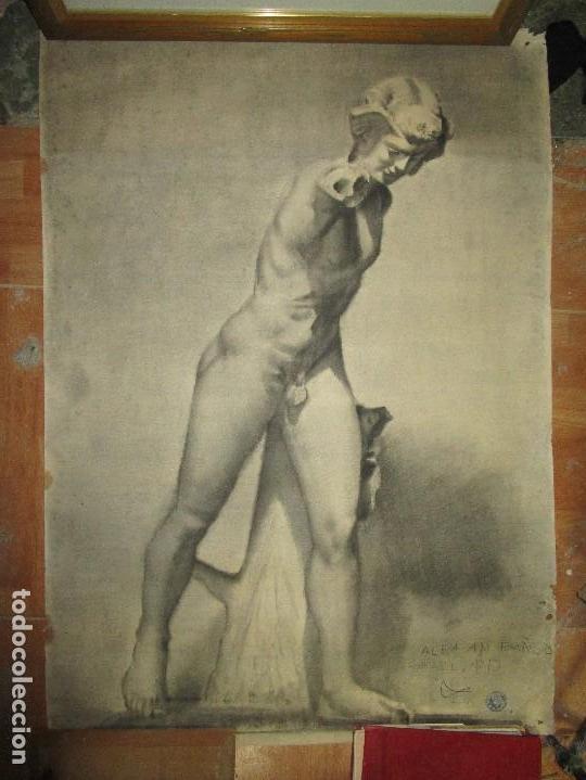 ANTIGUO DIBUJO AL CARBONCILLO CON SELLO ACUÑADO ALICANTE GRANDES DIMENSIONES DESNUDO (Arte - Varios Objetos de Arte)
