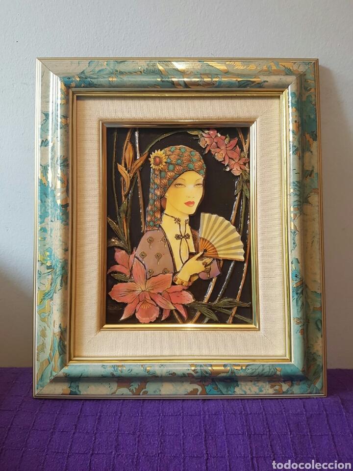 CUADRO ESMALTADO EN RELIEVE ESTILO ART DECÓ AÑOS 70 FIRMADO ELENA OLIVERA (Arte - Varios Objetos de Arte)