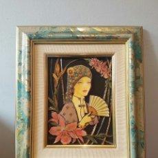 Varios objetos de Arte: CUADRO ESMALTADO EN RELIEVE ESTILO ART DECÓ AÑOS 70 FIRMADO ELENA OLIVERA. Lote 153977413