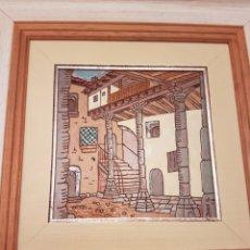 Varios objetos de Arte: CUADRO CERAMICA ESMALTADA PUEBLO SEGOVIA. Lote 154322586