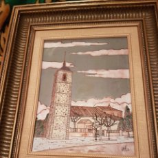 Varios objetos de Arte: CUADRO CERAMICA ESMALTADA PUEBLO SEGOVIANO. Lote 154323768