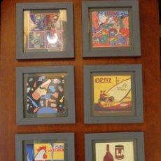 Varios objetos de Arte: SEIS PEQUEÑOS CUADROS INSPIRADOS EN MOTIVOS PUBLICIDAD - ANÍS DEL MONO -EL CASERÍO - ORTIZ - EN CAJA. Lote 154684914
