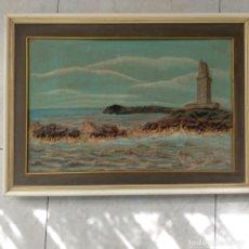 Varios objetos de Arte: CUADRO ENMARCADO TORRE DE HÉRCULES LA CORUÑA MATERIAL BARRO O SIMILAR FIRMA V. PARA DELANTE 64X46 CM. Lote 155489058