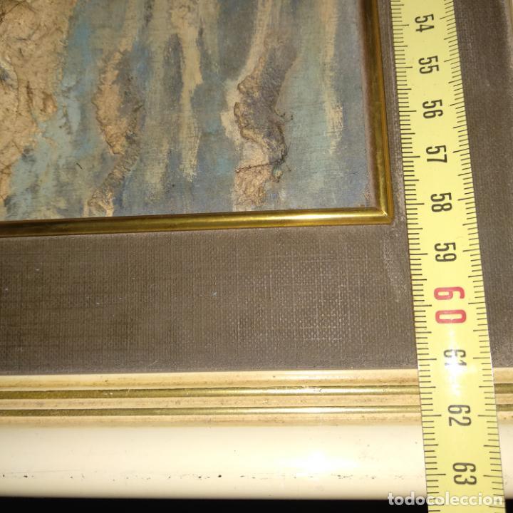 Varios objetos de Arte: Cuadro enmarcado Torre de Hércules La Coruña material barro o similar firma v. para delante 64x46 cm - Foto 5 - 155489058