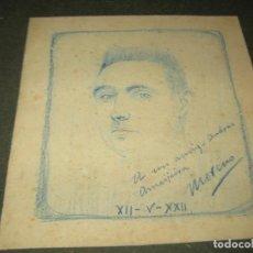 Varios objetos de Arte: DIBUJO SOBRE CARTON DATADO EN 1920 FIRMADO AUTOR MORENO.16 X 18 CMS. Lote 155777662