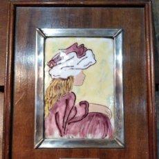 Varios objetos de Arte: ESMALTE DE AUGUSTE RENOIR REPRODUCCION CON DOBLE MARCO DE PLATA DE LEY Y MADERA. Lote 47848984