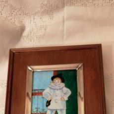 Varios objetos de Arte: ESMALTE PICASSO, PAUL EN PIERROT. MARCO DE PLATA. IDEAL COLECCIÓN.. Lote 156660846
