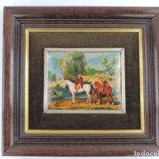 Varios objetos de Arte: ANTIGUO CUADRO CLÁSICO ESMALTADO AL FUEGO CON MARCO DE MADERA. Lote 157132790