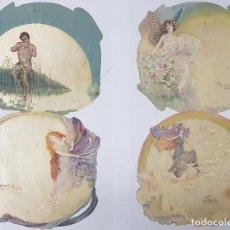 Varios objetos de Arte: LOTE DE 7 PINTURAS SOBRE SEDA - FINES XIX O PRINCIPIOS XX - 16X16 CMS CADA UNA APROX. - MITOLOGIA. Lote 157386614