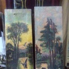 Varios objetos de Arte: PINTURA SOBRE LIENZO, BASTIDOR MADERA MUY ANTIGUA APROX. AÑO 1925 FIRMADO, 47X17 CM.. Lote 157597482