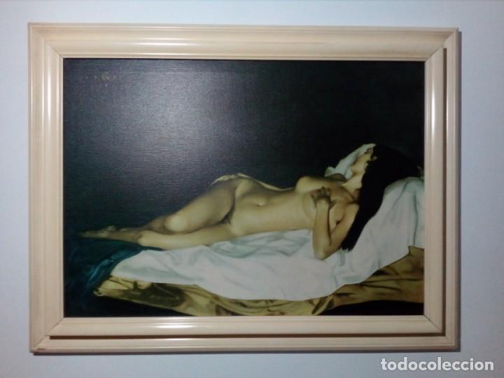 Cuadro De Mujer Desnuda Símil De óleo Sobre Lienzo Impreso En Lienzo 83 X 63 Centímetros Años 70