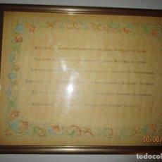 Varios objetos de Arte: PINTURA ANTIGUA CON MANUSCRITO POSITIVO ORIGINAL CUADRO CON CRISTAL POSIBLE ESCRITOR ALICANTE. Lote 157916522