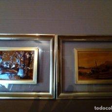 Varios objetos de Arte: LOTE DE DOS CUADROS -ESMALTE DE BAJA TEMPERATURA SOBRE CRISTAL. Lote 158554474