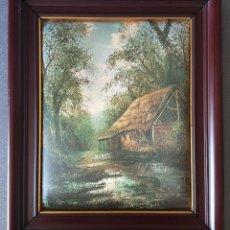 Varios objetos de Arte: CUADRO PAISAJE SOBRE TELA SEDA ACOLCHADA. Lote 158556998